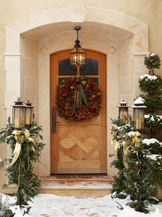 Inviting Home for the Holidays - Traditional Home® Christmas Porch Christmas Front Doors, Christmas Porch, Merry Little Christmas, Noel Christmas, Outdoor Christmas, Christmas Wreaths, Christmas Decorations, Xmas, Christmas Entryway