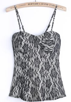 Black Spaghetti Strap Embroidered Lace Vest - Sheinside.com