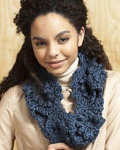 Free Crochet Cowl Pattern.  Join six swirly motifs to showcase the cozy sheen of Bernat Alpaca!