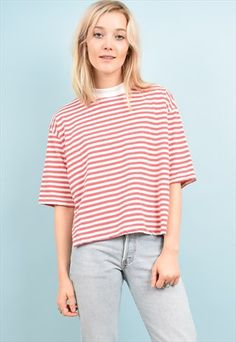 90s+Vintage+Red+Breton+Striped+Crop+Top+T+Shirt