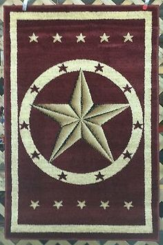 Western Texas Star Country Rustic Southwest Lodge Cabin Area Rugs Carpets