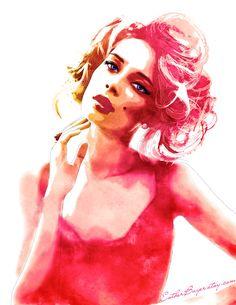 Scarlet Watercolor Fashion Illustration Fine Art door EstherBayer