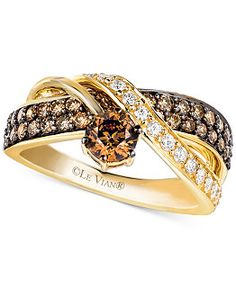 Le Vian Chocolate and White Diamond Crossover Ring in 14k Gold