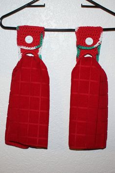 Crocheted Christmas Towel Kitchen Hanger w/towel  by stitchinfam, $8.00