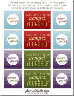 """""""pamper yourself"""" tags for Mason jars filled with small gifts for family or friends"""