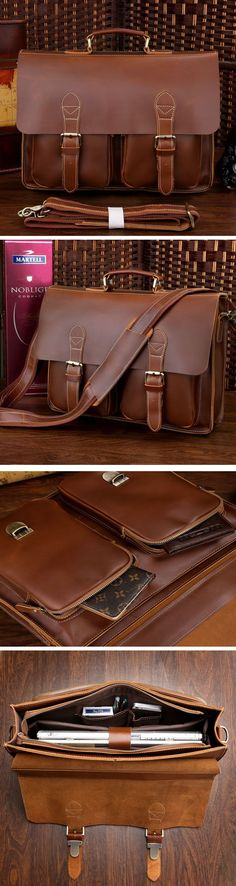 "Best Gift Crazy Horse Leather Briefcase Laptop Bag Messenger Bag 14"" 15"" Laptop 13"" 15"" MacBook"