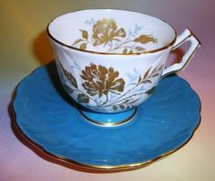 Pretty Gold Florals & Blue Aynsley Tea Cup and Saucer Set