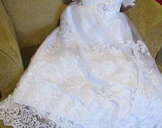 Baptism dress - baby girl Christening dress - 3pc set lace monogramed white - girl Christening gown --