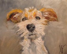 """Daily Paintworks - """"Jack Russell Pup"""" - Original Fine Art for Sale - © Annette Balesteri Animal Paintings, Animal Drawings, Art Drawings, Indian Paintings, Abstract Paintings, Landscape Paintings, Abstract Art, Dog Portraits, Fine Art Gallery"""