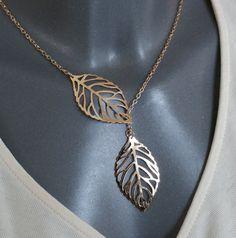 Gliederhalskette Romantic gold mit Blätter CK101 von Schmuckbaron