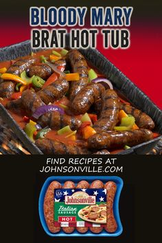 A new way to serve brats with a splash of brunch. Bloody Mary Brat Hot Tub is a way to serve your party with a twist. Brats Recipes, Beef Recipes, Cooking Recipes, Brunch, Bloody Mary Recipes, Carne Asada, Pork Dishes, Grilling Recipes, Food To Make