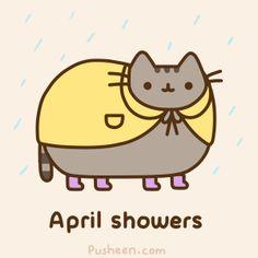 Pusheen and April Showers Chat Pusheen, Pusheen Love, Kawaii Drawings, Cute Drawings, Fat Cats, Cats And Kittens, Pusheen Stickers, Pusheen Stormy, Kawaii 365