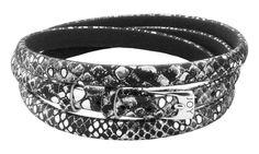 Joy de la Luz   Leather buckle bracelet black/silver