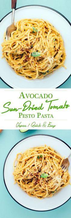 VEGAN AVOCADO AND SUN-DRIED TOMATO PESTO PASTA