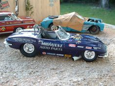Custom built models that replicate vehicles or objects that are seen in everyday life like junked cars and old buildings. There is a heavy interest in drag race vehicles and hot rods as well. Slot Car Racing, Drag Racing, Auto Racing, Model Cars Kits, Kit Cars, Chevy Models, Model Cars Building, Hobby Cars, Hot Rods