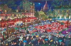 A Night at Montmartre - Limited Edition Mixed Media on Canvas by Alexander Chen