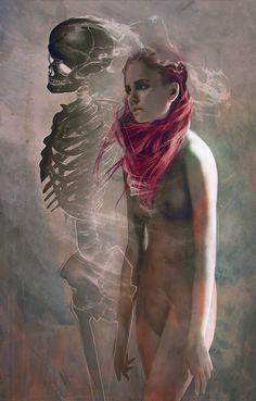 Lazy Hearts by *Jace-Wallace #digital #illustration #skeleton