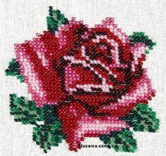 This Pin was discovered by Gay Beaded Cross Stitch, Cross Stitch Rose, Cross Stitch Flowers, Cross Stitch Embroidery, Cross Stitch Designs, Cross Stitch Patterns, Beading Patterns, Embroidery Patterns, Welcome Flowers