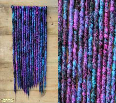 'Galaxy' single ended crocheted dreads by Black Sunshine Natural Dreads, Back Combing, Galaxy Hair, Synthetic Dreads, Rainbow Hair, Crochet Fashion, Hair Pieces, Hair And Nails, Purple