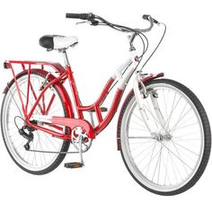 "Schwinn Point Beach 26"" Ladies Cruiser Bike, Red and White - Walmart.com"