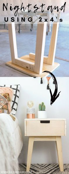 Here's a quick nightstand you can make using 2x4's and plywood FOLLOW 7 EASY STEPS