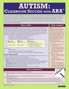 Autism: Classroom Success with Applied Behavior Analysis provides information on using principles of applied behavior analysis (ABA) to teach students who have autism spectrum disorder (ASD). ABA is strongly supported as an evidence-based practice and is highly recommended for students with ASD.
