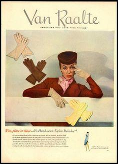 Van Raalte glove ad early 1950s