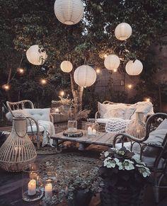Outdoor Spaces, Outdoor Living, Outdoor Decor, Outdoor Balcony, Backyard Patio, Backyard Landscaping, Backyard Movie, Budget Home Decorating, Cool Lighting