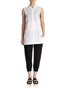 Helmut Lang - Sleeveless Cotton Tunic Blouse