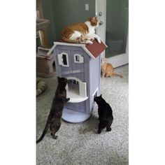 Cat's Home Sweet Home Three Story Wooden House