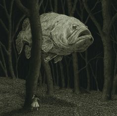 redlipstickresurrected:  Chris Odgers aka Sawhorse Books (UK) - Ghost Fish, 2013   Drawings: Pastels, Charcoal