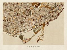 """""""Toronto Street Map"""" by Michael Tompsett: Street map of Toronto, Ontario, Canada // Buy prints, posters, canvas and framed wall art directly from thousands of independent working artists at Imagekind.com."""