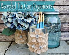 These recycled tin can organizers from The Graphics Fairy are adorable! Go check out how she made them.