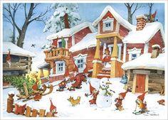 Tältä sivulta löydät kaikki Suomen Partiolaisten adventtikalenterin kuvat. Christmas Art, Gnomes, Woodland, Cabin, House Styles, Drawings, Painting, Beautiful, Olympics