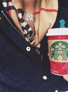 Monogram, scarves, and Starbucks. A southern girls best friend.