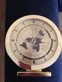 Retro world time clock made in Germany. 70's table clock by trevoranna on Etsy