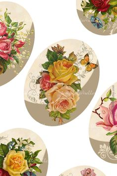 Digital Collage Sheet  Vintage Roses 30x40 mm by Templates4Sellers