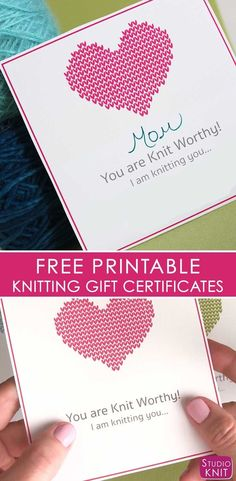 Looking to finish up all your knitted gifts now? Get your Free Knitting Gift Certificate Printable download by Studio Knit. Your loved ones will be excited to learn they will soon receive a new knitted gift from you! #StudioKnit