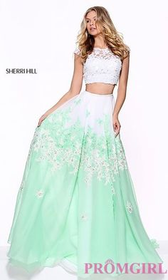 Two-Piece Embroidered Prom Dress at PromGirl.com