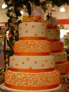 Orange & white wedding cake