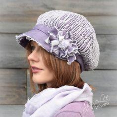 Purple Newsboy Hat Cap Shabby Chic Chenille by GreenTrunkDesigns