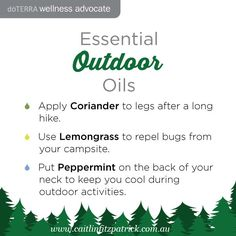 Take these essential oils on your next hiking adventure. www.caitlinfitzpatrick.com.au