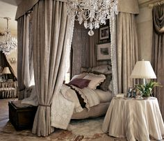 Tan French bedroom, I love this style.