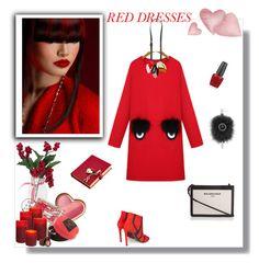 """Red Dress"" by murenochek ❤ liked on Polyvore featuring WithChic, Marni, Balenciaga, Harrods, Amara, Fendi, OPI, red, fendi and reddress"