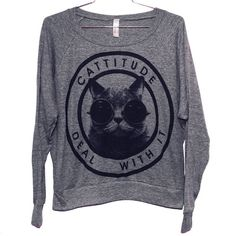 Cattitude Raglan Pullover Select Size by BurgerAndFriends on Etsy, $28.00