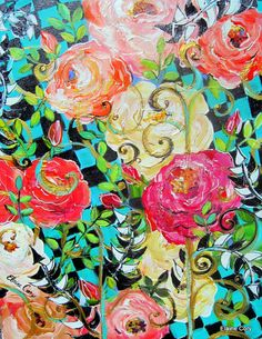 A Rose Garden Landscape  is an original painting done by me Elaine Cory. It is on a gallery wrapped canvas 22 x 28 x 3/4. The sides are painted