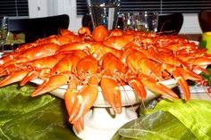 A platter of red crayfish at a late summer's crayfish party in Tampere, Finland