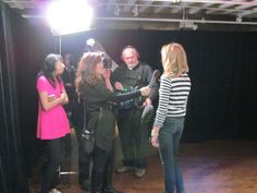 Backstage being interviewed.