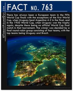 There has always been a European team in the FIFA World Cup finals with the exceptions of the first World Cup, when Uruguay beat Argentina 4-2 in the final, and in the 1950 World Cup, when Uruguay won the trophy again, despite there being no official World Cup final match in that tournament. The winner was decided by a final round-robin group consisting of four teams, with the top teams being Uruguay and Brazil.