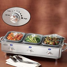 Three station buffet serves, transports, and heats food. Features heavy-duty, classic design, three adjustable heat dials for keeping food in each tray at the perfect serving temperature and glass lids to trap heat when in use.  #football
